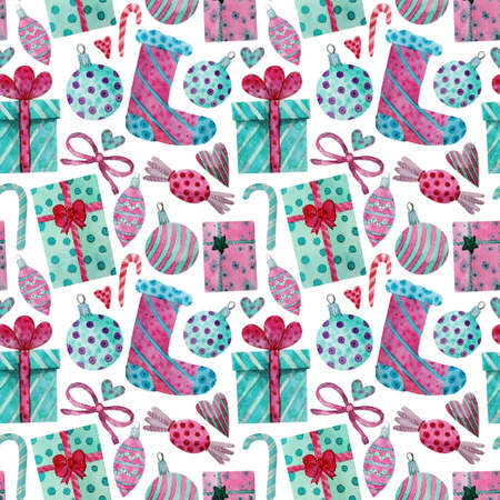 Watercolor seamless greeting pattern. New Year. Celebration illustration. Merry Christmas. Hand drawn Christmas decorations, balls, candys and gift boxes on white background