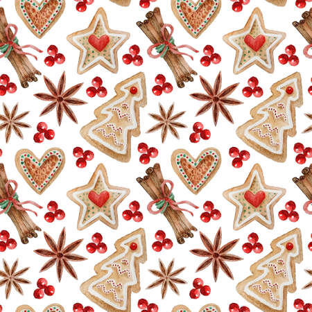 Watercolor seamless pattern with Christmas elements, gingerbread cookies and spices. Hand painted gingerbread cookies, sweets, red berries, anise and cinnamon sticks. Hand drawn winter holiday objects
