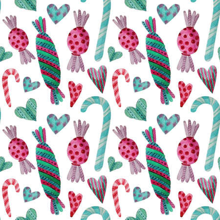 Pattern with watercolor New Year sweets. Watercolor seamless pattern with Christmas candy cane. Hand drawn background.