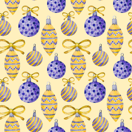 Christmas tree vintage glass toys. Seamless winter pattern illustration. Christmas balls. Happy new year holidays elements background.