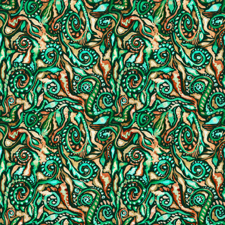 Watercolor ornate floral ethnic seamless pattern in green and golden colors om black background. Decorative boho abstract ornament. Perfect for invitations, wrapping paper, textile, fabric, packing