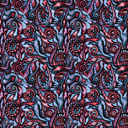 Watercolor ornate floral ethnic seamless pattern in blue and pink colors om black background. Decorative boho abstract ornament. Perfect for invitations, wrapping paper, textile, fabric, packing
