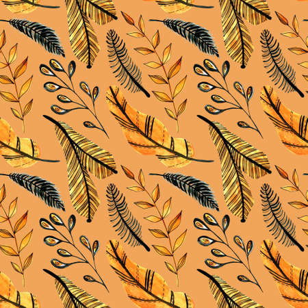 Watercolor seamless pattern with orange and black leaves on the white background. Christmas tree branch pattern. Perfect for greeting cards, invitation, wrapping paper, textile