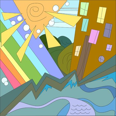Colorful city with sun and rainbow Vector