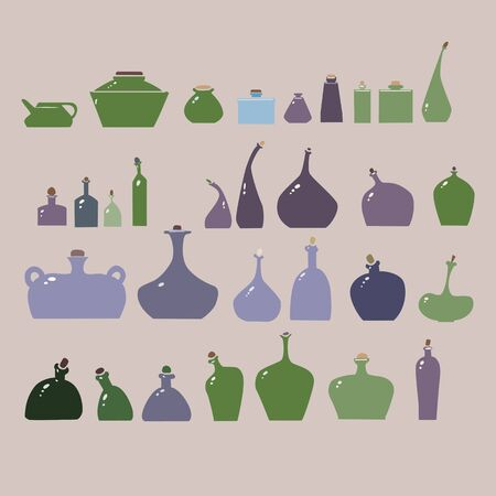 Vector illustration of bottles and glasses set. Stock Vector - 17910208