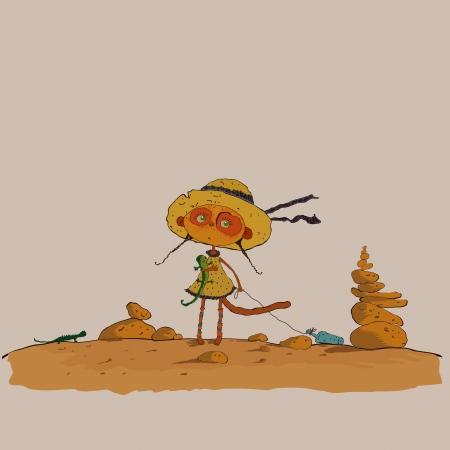 kalahari desert: hilarious meerkats girl in the desert vector Illustration