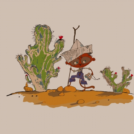 kalahari desert: hilarious meerkats boy in the desert vector