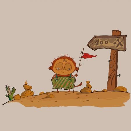 mongoose: hilarious meerkats boy in the desert vector