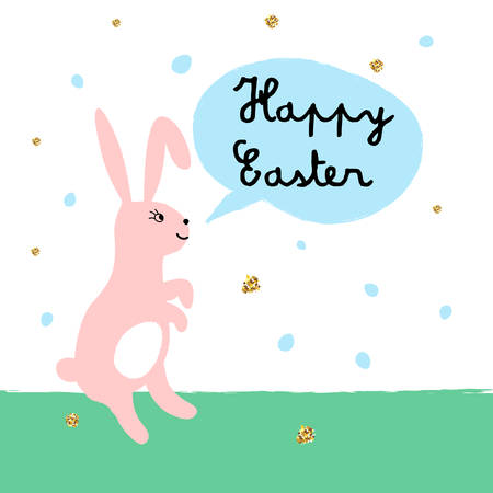 Happy Easter card with cute bunny and chickens. illustration