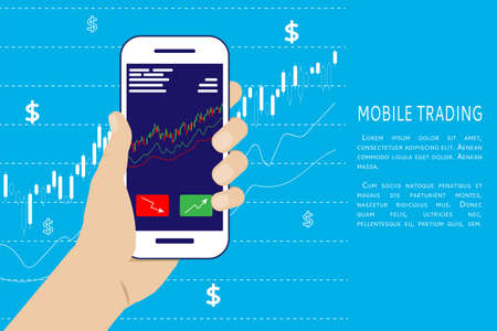Man's hand holds a smartphone with trade charts. Concept for mobile online trading, stock trading, stock market analysis, business and investment, stock exchange. Vector illustration. Flat steel