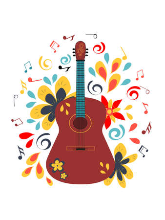 Abstract illustration with acoustic guitar. For a music festival or t-shirt. Vector concept