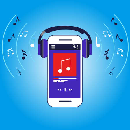 The phone plays audio or radio in the headphones. Smartphone music player interface concept. Banner design for Media player application. Flat vector illustration