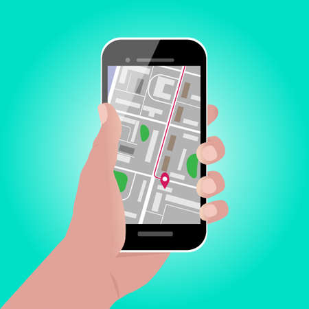 Hand holding smartphone with map and GPS pointer on its screen. Mobile gps navigation and tracking concept. Vector cartoon illustration. Location tracking app on smartphone