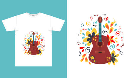 Abstract bright print with a guitar for t-shirt and other fashion clothing. Vector illustration.