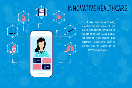 Virtual medicine. Professional online consultation on your smartphone. Health care app. Vector illustration, flat style