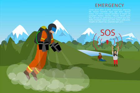 Rescuer flies in jet suit to help people in the mountains. Signal for emergency services. Ambulance banner. Vector illustration, flat style.
