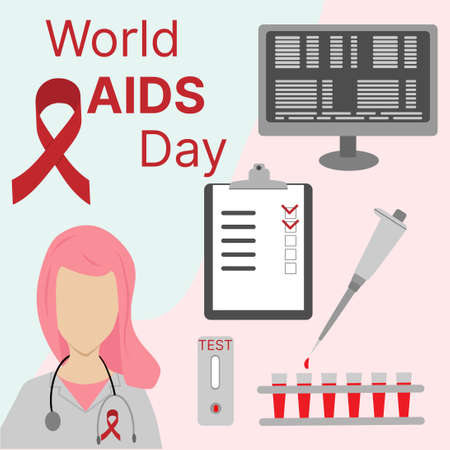 World AIDS Day. Doctor with a red ribbon. Vector medical illustration.