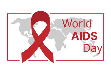 World AIDS Day. Red ribbon on the background of the world map. Vector illustration Illustration
