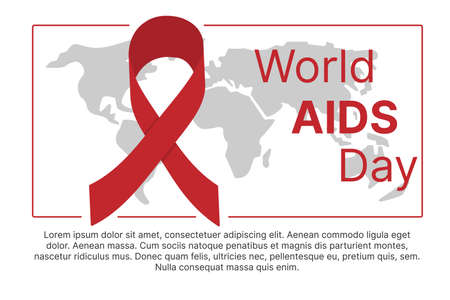 World AIDS Day. Red ribbon on the background of the world map. Place for text. Vector illustration