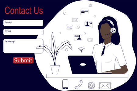 Contact us. Call center customer service agent with headphones, microphone, and computer. Online customer support. Design for the site and app. Vector