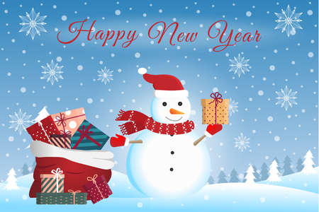 Christmas Snowman with gifts on the background of the winter Christmas landscape. Happy New Year. Vector illustration Vector Illustration