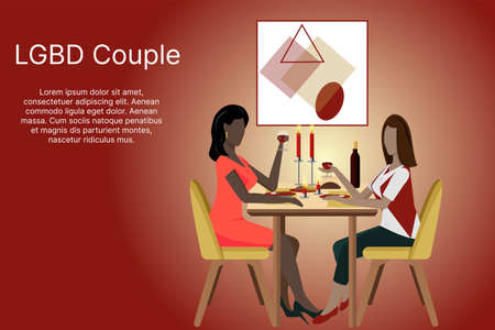 Concept of LGBT couples. Happy lesbian family arranges a romantic dinner, has lunch in a cafe, celebrates in a restaurant. Illustration of love diversity, relationships, equality, rights.Vector