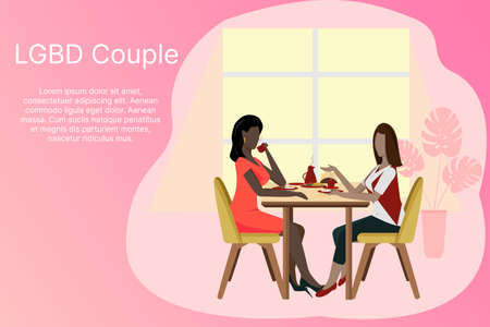 LGBT couple concept banner. Happy family. Breakfast, food in a cafe, celebration in a restaurant. Love, diversity, relationships, equality and rights. Vector illustration Vector Illustratie