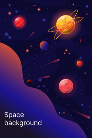 Outer space background template, travel through the universe. vector illustration