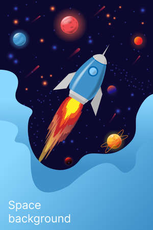 Space galaxy vector design. Illustrations Rocket, Universe, Planets, Stars and Milky Way. Place for text