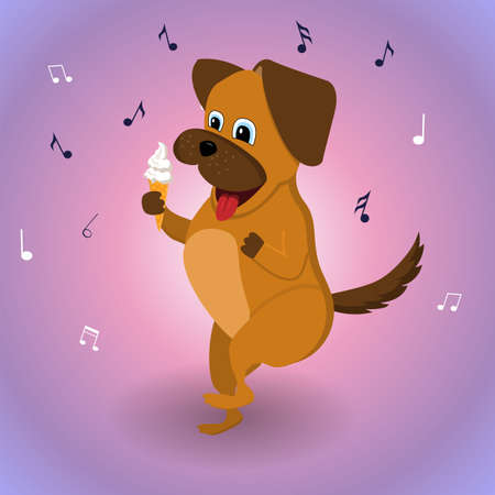 The dog is dancing with ice cream. Vector illustration