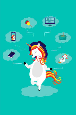 Beautiful smart unicorn mom with baby, laptop, phone, book, whisk and pan. Smart case allocation concept. Vector