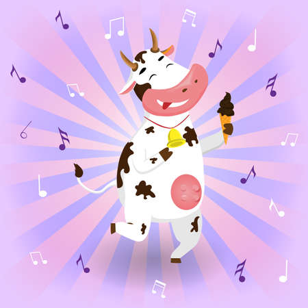 Vector funny cow dancing with ice cream on a background with notes