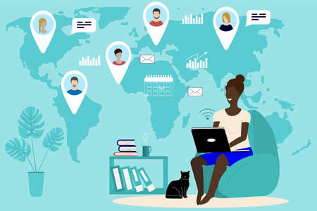 People from all over the world work together on a computer using the Internet. Conduct video conferencing, meetings, work from home, anywhere. Vector illustration Illustration