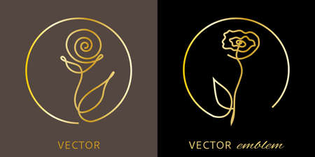 Rose one line silhouette design. Vector logo and monogram design element in simple minimal style.