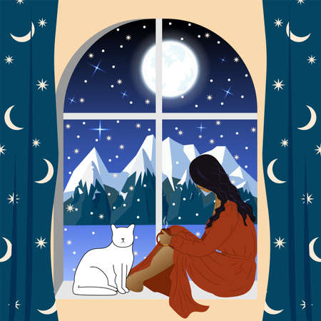 A woman, a girl sits by the window with a cat and looks at the winter mountain landscape. Lonely evening, waiting. Vector illustration
