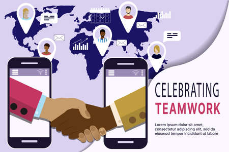 The concept of celebrating teamwork around the world, online negotiations, online deals, contract signing. Vector