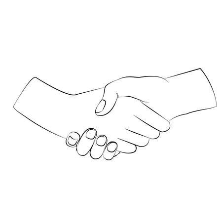 Handshake illustration. Design vector icon in minimalistic linear style.