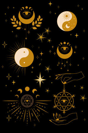 A set of cards with magical and astrological symbols. Mystical signs, silhouettes, esoteric aesthetics. Vector flat illustration