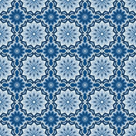 Oriental mandala. Vector pattern in classic blue hues for any surface. A serene, calming effect of blue shades makes it a favorite for any decor inspired by a sea and the sky just before night falls.