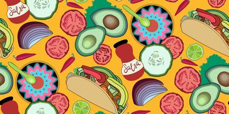 Taco with veggies. Tomato, avocado, hot pepper, cucumber, onion, lettuce, lime. A jar of salsa and a colourful plate in a Mexican style with a spoon.