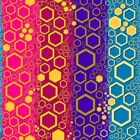 Honeycomb-like hexagonal cells on a bright background with contrasting colourful textured stripes vector seamless surface blocking colours pattern.