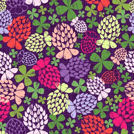 Stylized geometrics four-leafed clover flowers in various vibrant neon colours scattered on a dark purple textured background non-directional print.