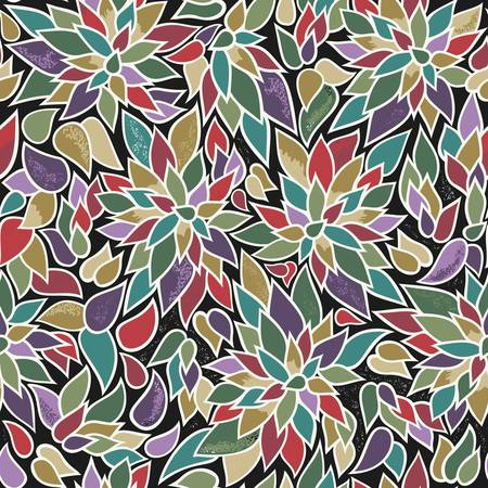 Seamless vector surface pattern with red, green, purple, beige and golden textured leaves motif on black. For various backgrounds, textile, wrapping paper, scrapbooking, home and products decor. Çizim