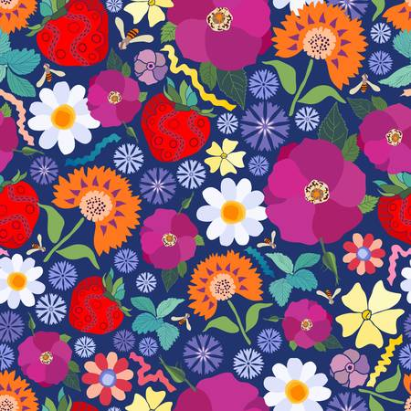 This repeating pattern ushers in the new season just like they do in Sweden on the summer solstice. Flowers are key components in the midsummer celebration. Strawberries are among the foods shared.  イラスト・ベクター素材
