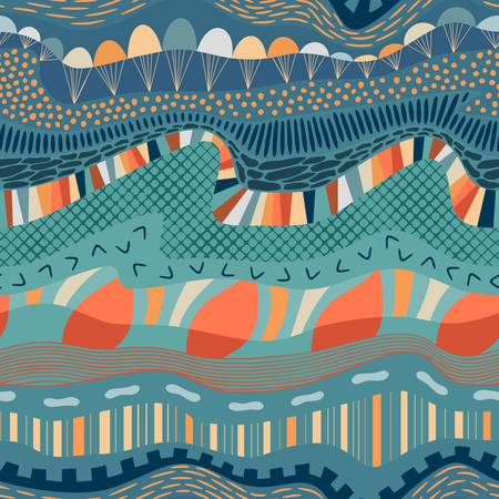 Abstract artistic composition geological layers concept with flowing lines, hills, rocks, land surface, water like curly waves, parachutes in a sky, various random fill geometric elements and shapes. Minty blue, yellow, beige, orange, light brown and grey neutral hues. Suitable for quilting, stationery and interior decor.