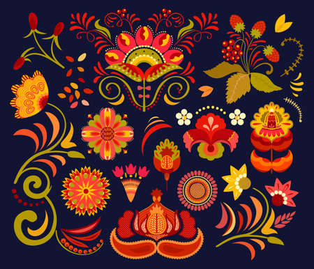 Rich red, orange, amber yellow, golden, greenish warm saturated shades imitating colors of Khokhloma, a Russian painting style. Set of folk flowers for graphic projects, print, packaging, invites, web 일러스트