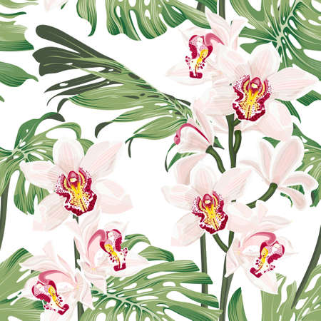 Monstera leaves with cymbidium orchid flowers. Seamless tropical pattern with exotica leaves and flowers. Stock vector illustration on a white background.