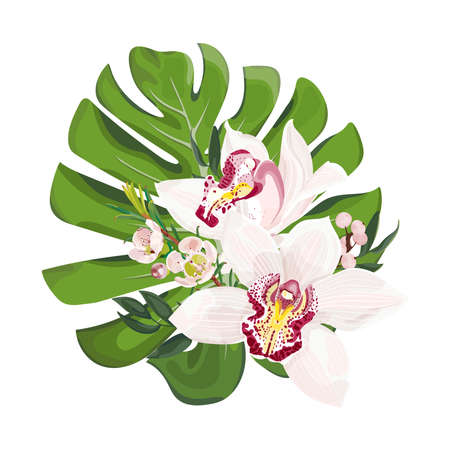 Bouquet of tropical flowers. Monstera leaves with pink cymbidium orchid flowers. Floristics for weddings. Vector stock illustration isolated on white background.