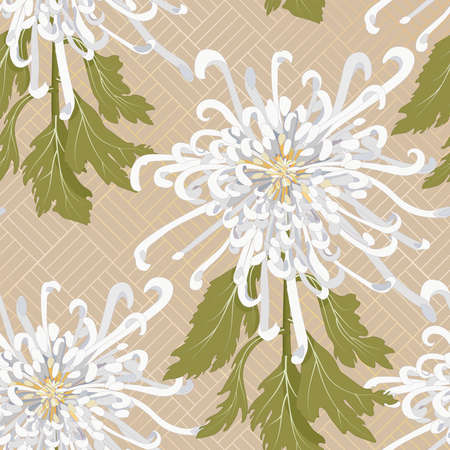 Chrysanthemum is the national flower of Japan. Seamless floral pattern with white chrysanthemum on a beige background with a gold ornament on backdrop. Stock vector illustration Illusztráció
