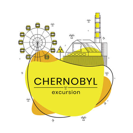Excursions to Chernobyl exclusion zone. Flat vector illustration.